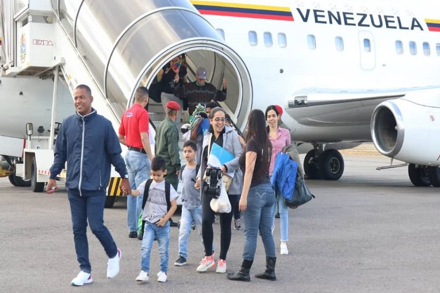 Venezuelan migrants return to the country in 2019. (Foreign Ministry)