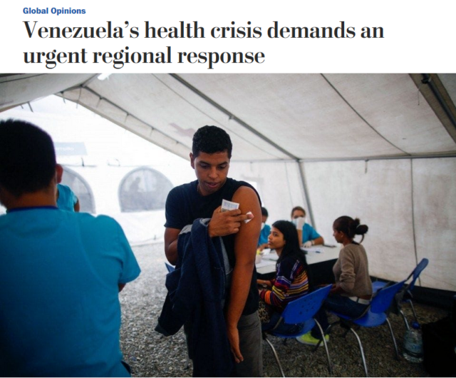 "A Washington Post op-ed (11/26/18) called on international governments to ""put considerable pressure on Venezuela"" in response to health problems that are largely a result of international pressure. (FAIR)"