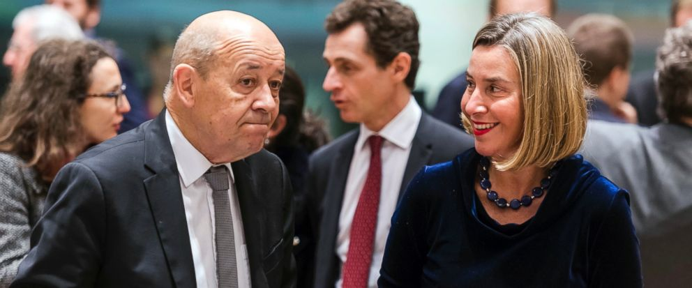 French Foreign Minister Jean-Yves Le Drlan (L) with EU foreign policy chief Federica Mogherini at a EU foreign ministers meeting in Brussels on Monday. (AP)