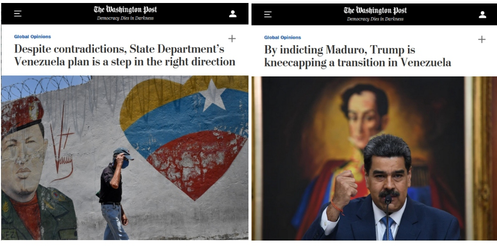 Left: WOLA's Smilde defended the $15 million bounty on Maduro's head as a positive step; Right: Ramsey argued that the DOJ indictments are the wrong way to secure a transition.