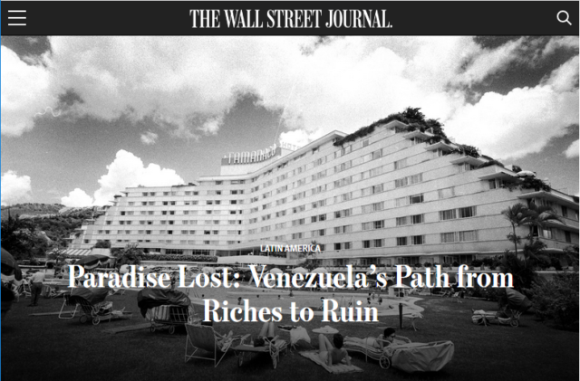 "To the Wall Street Journal (2/7/19), Venezuela was ""paradise"" when it was much more unequal. (Screenshot)"
