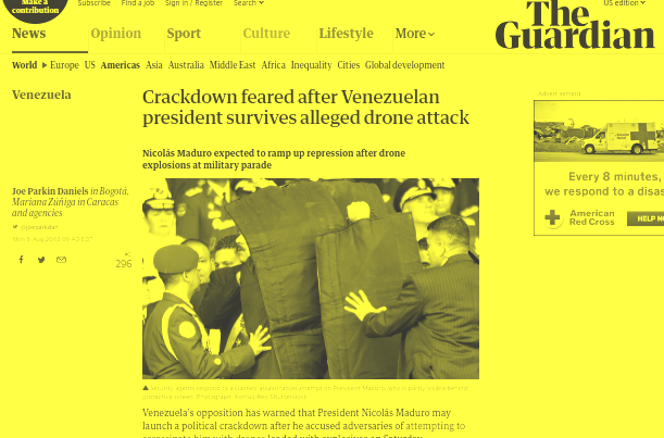 The Guardian's slanted coverage of Saturday's attack on Maduro. (Screenshot)