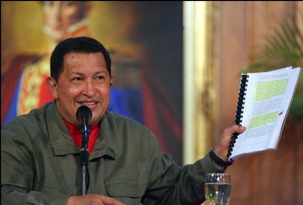"""Venezuelan President Hugo Chavez called the Interpol analysis of the supposed FARC data a """"media show."""" (Marcelo García/Prensa Presidencial)"""