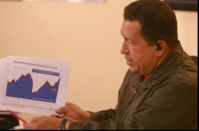 President Hugo Chavez presents a graph as he explains national electricity production on his weekly talk show Alo Presidente last Sunday (Prensa Presidencial)