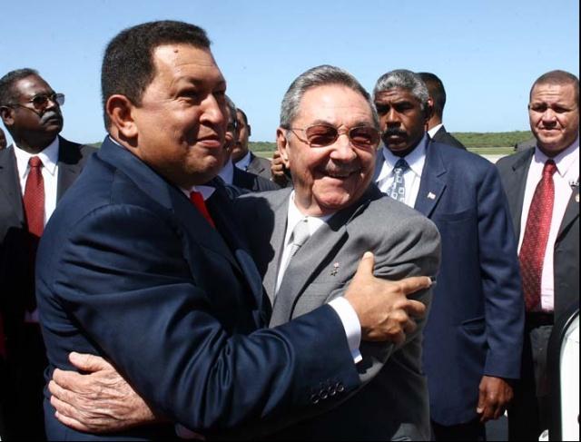 Cuban President Raul Castro and Venezuelan President Hugo Chavez