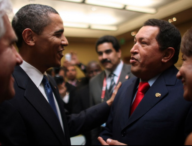President Obama approached president Chavez before the start of the Summit.