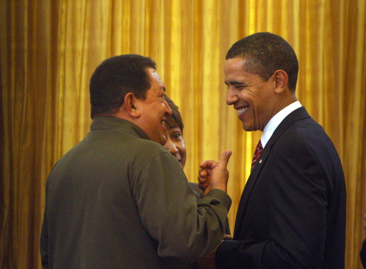 Presidents Hugo Chavez of Venezuela and Barack Obama talk cordially at the end of the V Summit of the Americas.