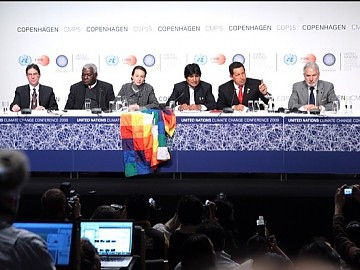 ALBA presidents and representatives in a press conference at the end of the Copenhagen Climate Summit (Prensa Presidencial)