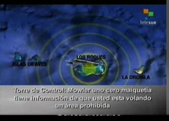 Image from Telesur's broadcast of the radio transcript of the May 2009 incursion on Wednesday