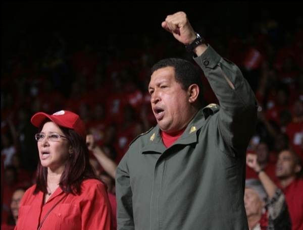 President Hugo Chavez (right) and PSUV Vice President Cilia Flores at the congress.