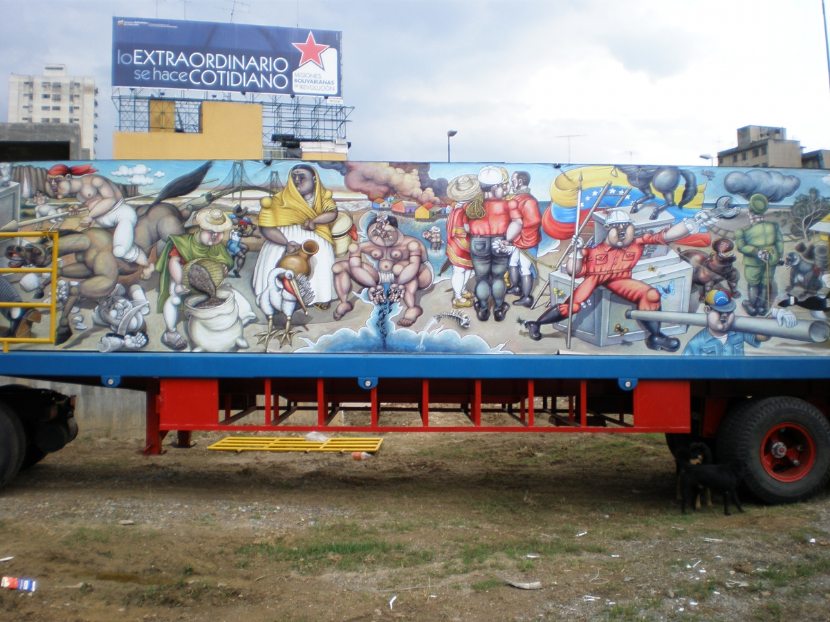 """""""The extraordinary becomes the norm"""" - Ministry of Communications billboard promoting the governments free social programs & mobile mural (Stuart Robertson)"""