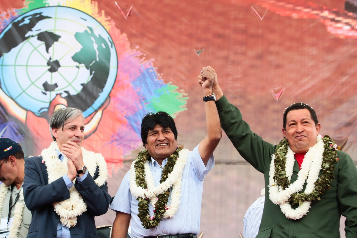 President Hugo Chavez (right), President Evo Morales, and Bolivian Vice Presiden