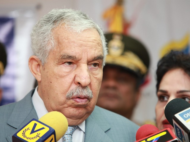 United Nations General Assembly President Ali Abdessalam Treki talks to reporters after his meeting with Venezuelan President Hugo Chavez at Miraflores Palace in Caracas (RNV).