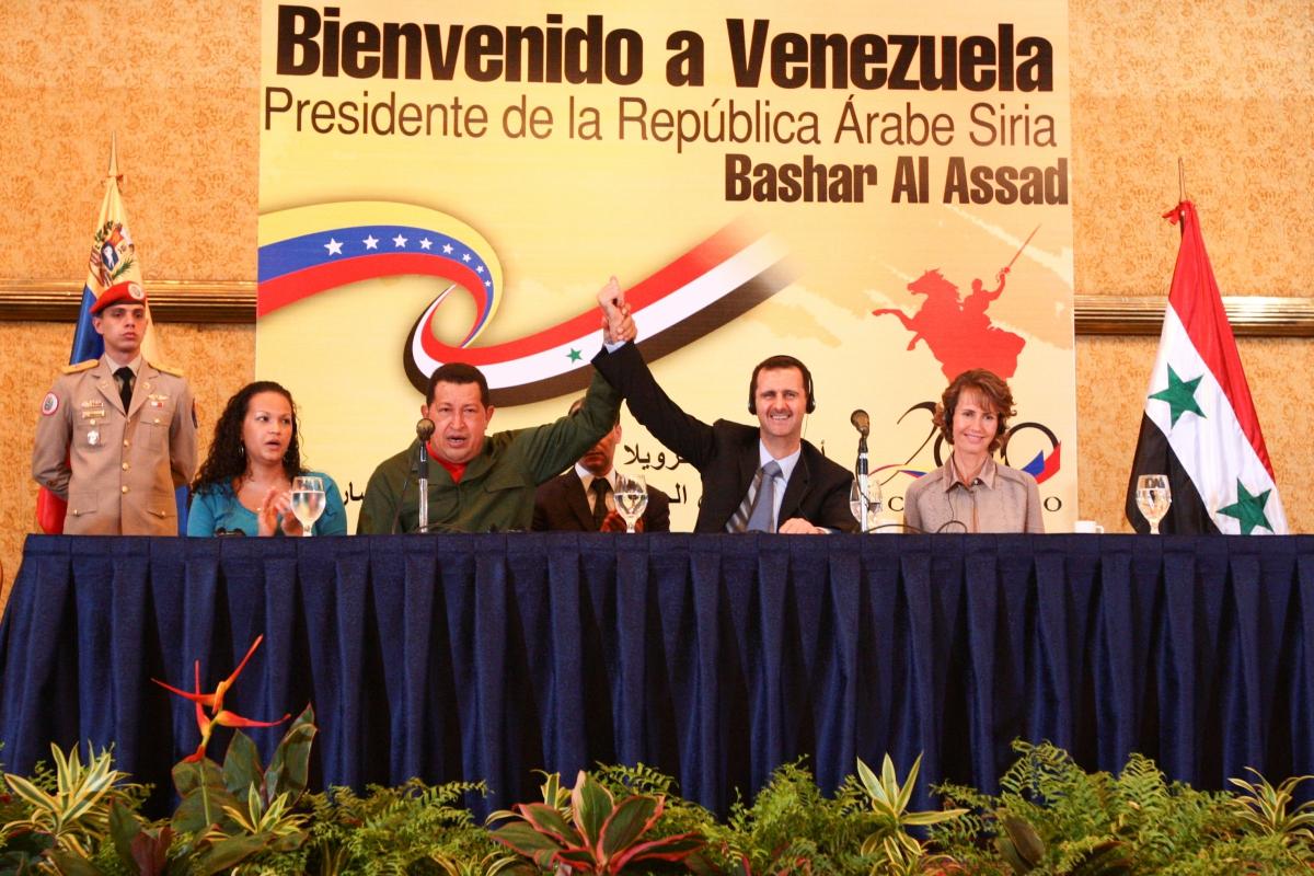 President Hugo Chavez (center left) and President Bashar Al-Assad (center right) (Prensa Miraflores)
