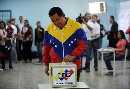 President Hugo Chavez voting today (agencies).