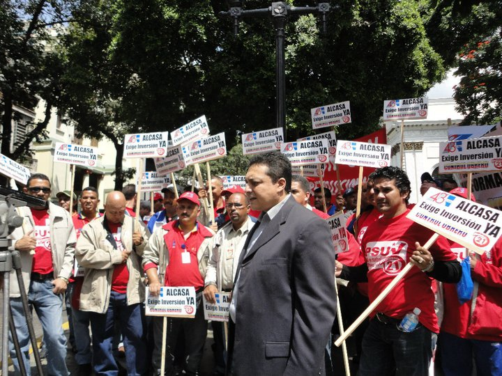The delegation of Alcasa protestors.