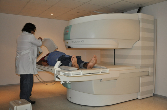 A Venezuelan undergoes an MRI in a free health clinic created