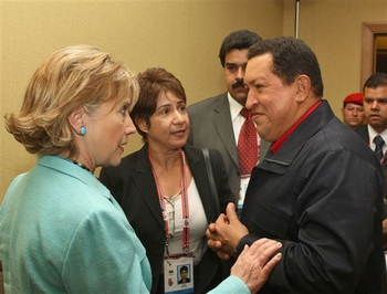 President Chavez and Secretary Clinton face-to-face during the Summit of the Americas in Trinidad and Tobago in April 2009 (Agencies)