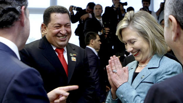 Venezuelan President Hugo Chavez and US Secretary of State Hillary Clinton chatted briefly after the inauguration of Dilma Rousseff as President of Brazil (Agencies).