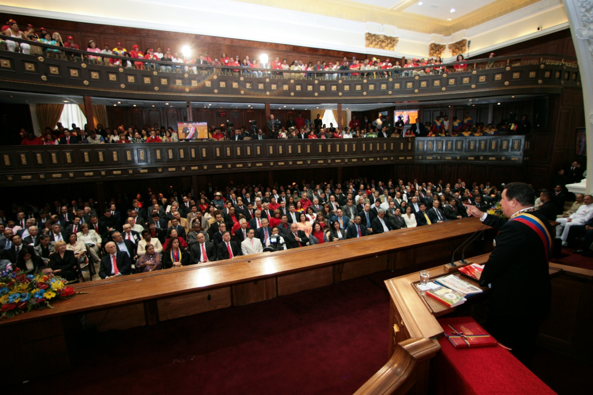 President Chavez addressing the National Assembly on Saturday (Prensa Miraflores)