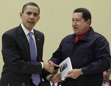 "During their brief 2009 encounter at the Summit of the Americas, Chavez gives Obama a copy of ""The Open Veins of Latin America"" a book by Eduardo Galeano, which chronicles U.S. and European economic and political interference in Latin America (Agencies)"