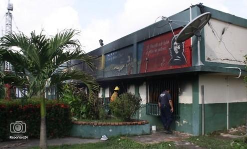 The burnt INTI building in Zulia (agencies)