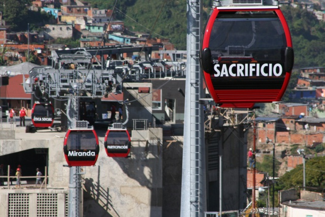 """Sacrifice,"" ""Miranda,"" ""participation,"" and ""social ethics,"" say the metrocable cars in Caracas (YVKE)."