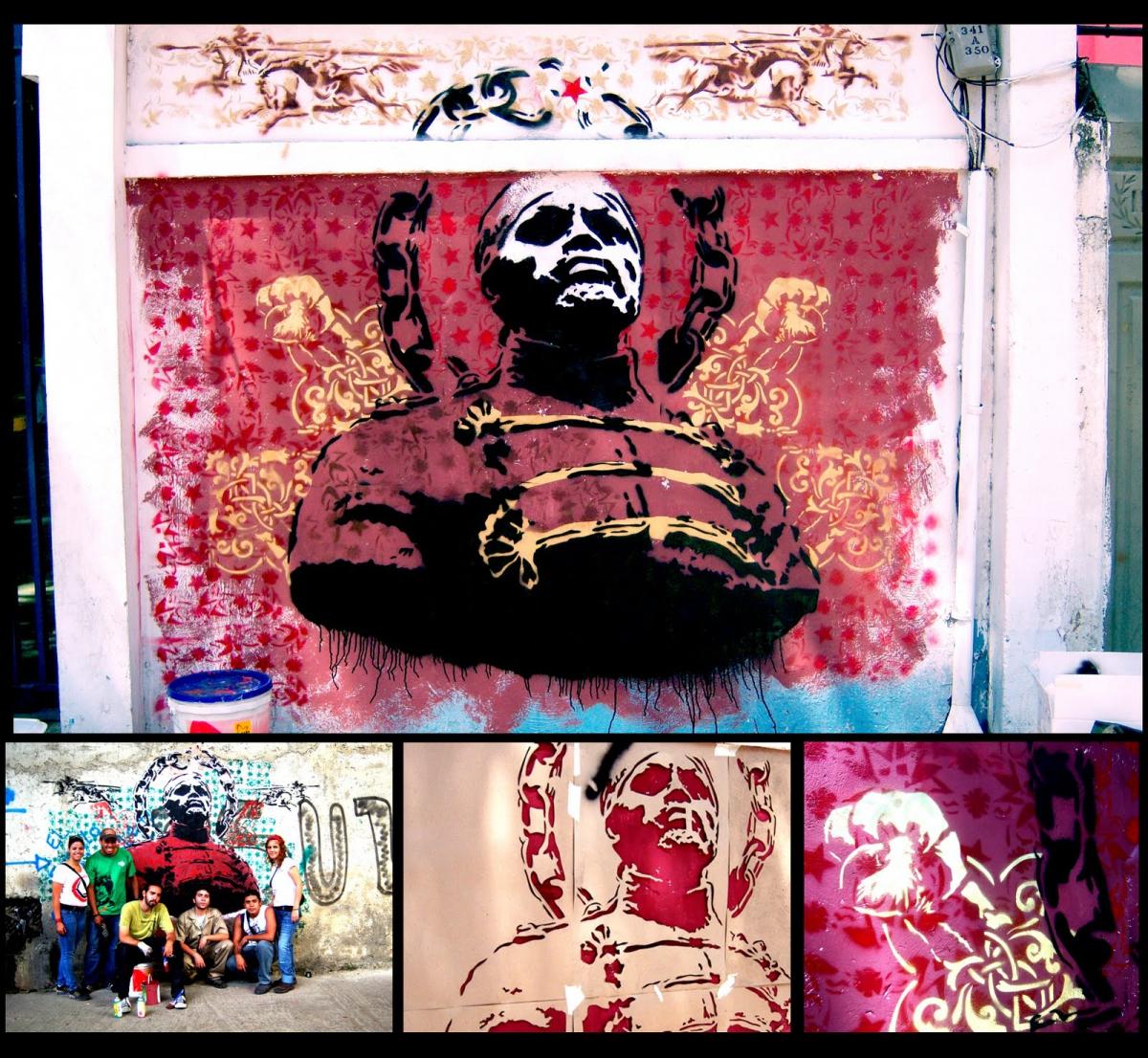Negro Primero, Venezuelan hero of popular struggle, depicted in this urban art scene.