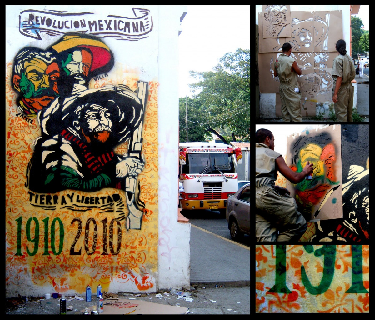 """Inspired by the popular art techniques of Guadalupe Posada, and in commemoration of the 100 year anniversary of the Mexican Revolution (1910-2010), Venezuela's Communicational Guerrilla prepared this stencil/mural with the phrase, """"Land and Liberty."""""""