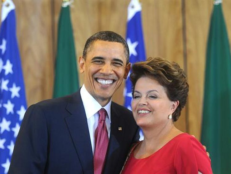 US President Barack Obama and his Brazilian Counterpart Dilma Rousseff meet in Brasilia on 19 March 2011 (EFE).