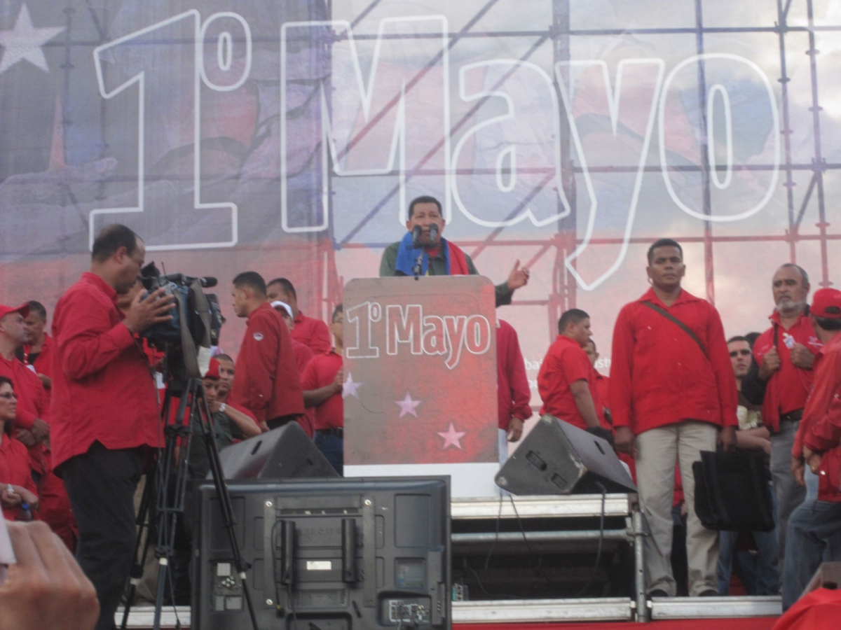 Chavez speaking at the May Day march yesterday in Caracas (Ewan Robertson/Venezuelanalysis.com)