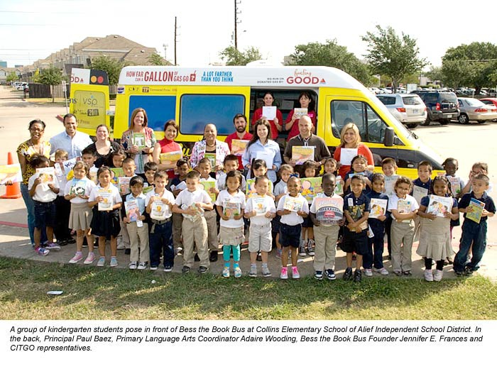 "Previous winner of CITGO's ""Fueling Good"" competition, Bess the Book Bus, with kindergarten children and CITGO representatives. (CITGO)"