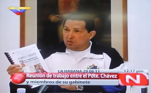 Venezuelan President Hugo Chavez in Havana, Cuba, during a working meeting on 29 June 2011 (Agencies)