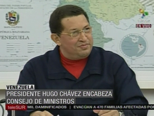 Venezuelan President Hugo Chavez during his Council of Ministers meeting of 7 July 2011 (TeleSur)