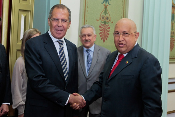 Venezuelan President Hugo Chavez met with Russian Foreign Minister Sergery Lavrov in Caracas on 24 August 2011 (Prensa Presidencial/Anebert Rivera)