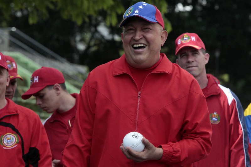 Venezuelan President Hugo Chavez practicing softball with his presidential guard on 29 September 2011 (Prensa Presidencial).
