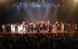 Musicians from Cuba and Venezuela performed at an event to wish Venezuelan President Hugo Chavez good health (LAHT)