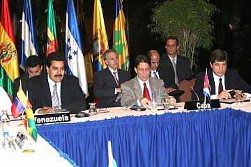 Venezuelan Foreign Affairs Minister, Nicholas Maduro, (far left) and his Cuban counterpart Bruno Rodriguez head the ALBA delegation to Damascus (radiorebelde.cu)