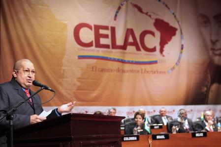 Venezuelan President Hugo Chavez speaks at the opening of CELAC (RNV)