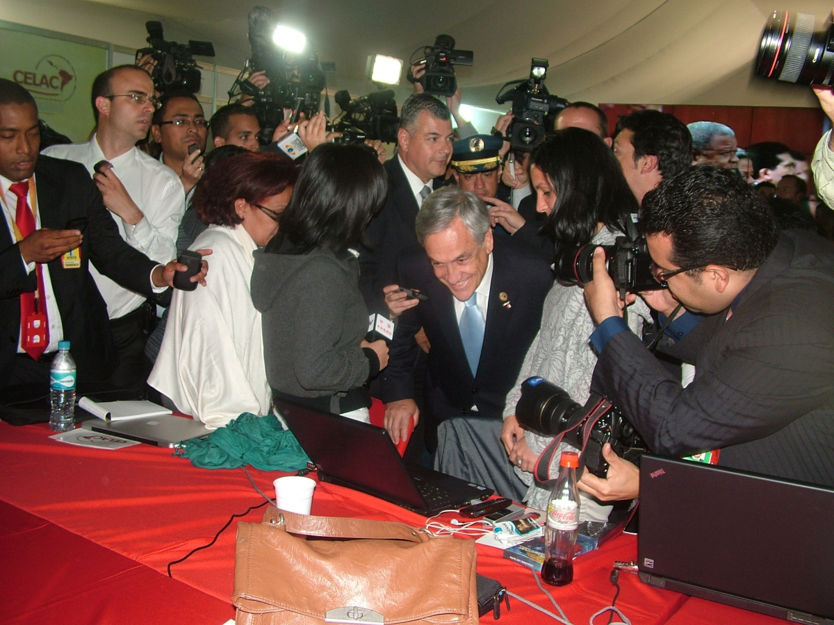 Sebastian Pinera, president of Chile and now presidente pro-tempore of the CELAC, visited the press tent on Saturday  (Tamara Pearson / Venezuelanalysis.com)