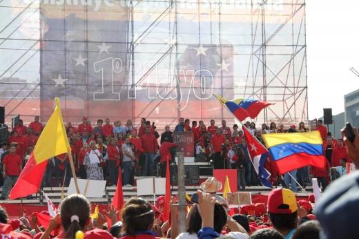 Venezuelan President Hugo Chavez addressing supporters on 1st May 2011 (Patria Grande)