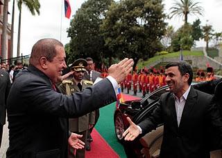 Venezuelan President Hugo Chavez (left) meeting Iranian President Mahmoud Ahmadinejad in Caracas this week (archive).