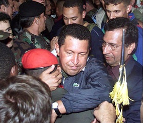 Chavez returned to supporters very early in the morning of April 14 2002 (agencies).