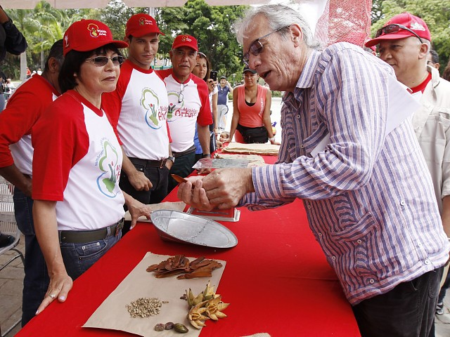 Environment minister Alejandro Hitcher inspecting some of the gathered seeds in Francisco de Miranda National Park (AVN).