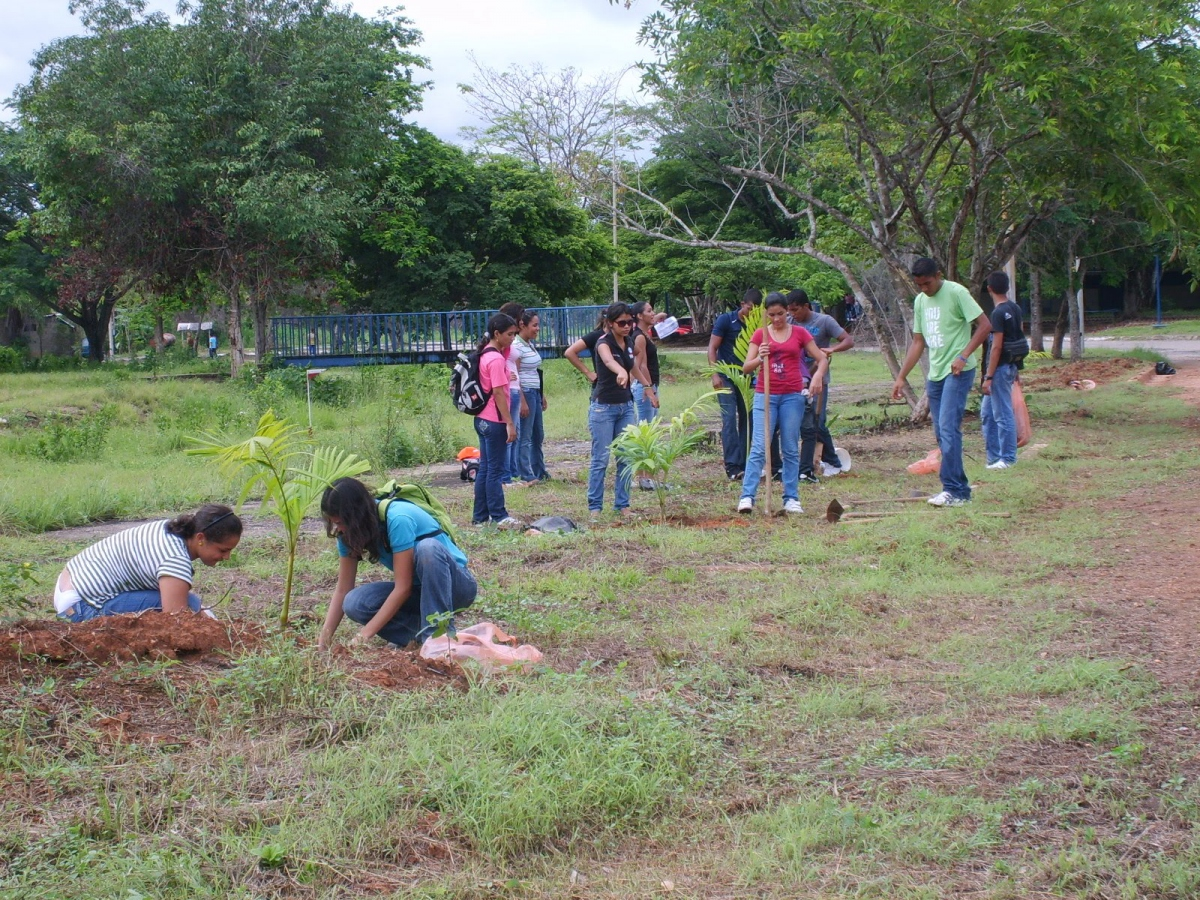 Students in the eastern state of Anzoategui planting new trees (UNELLEZ blog)