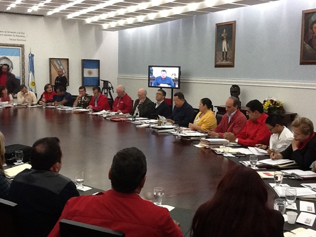 Chavez (centre back) at the ministers' council yesterday (tmaniglia)