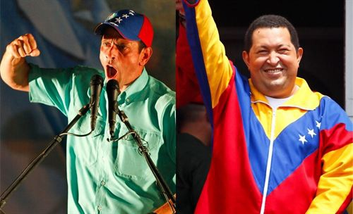 On the campaign trail: Opposition candidate Henrique Capriles (left) and candidate for the current government, Hugo Chavez (Reuters)