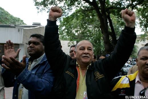Ruben Gonzalez upon winning the union elections in Ferrominera del Orinoco (El Universal)