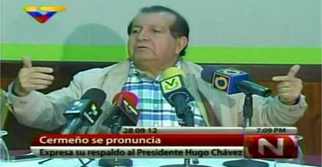 Aldo Cermeno declaring his support for Chavez on public television (VTV)
