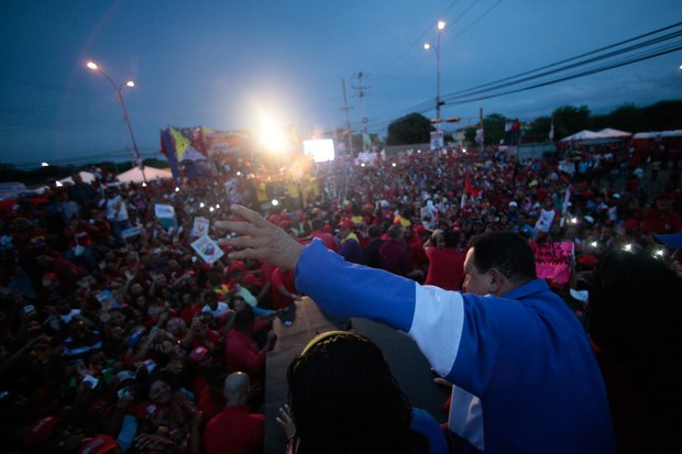 Hugo Chavez on a campaign rally in the northern state of Falcon on Wednesday (VTV)